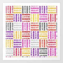 bright pattern of pink, yelow and purpe no 4 Art Print