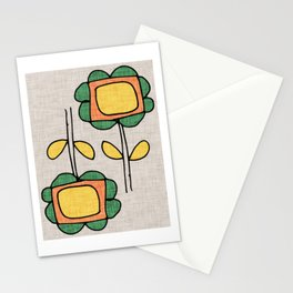 Sunflower Mod Grey Stationery Cards