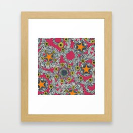 cirque fleur rose papaya star Framed Art Print