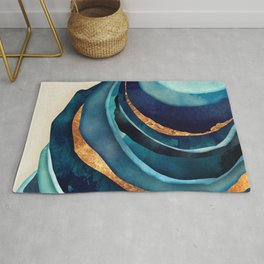 Abstract Blue with Gold Rug
