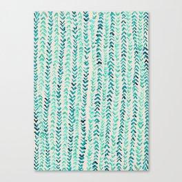 Hand Painted Herringbone Pattern in Mint Canvas Print