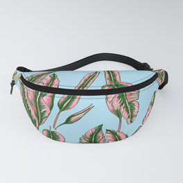 Blue and Pink Banana Leafs Fanny Pack