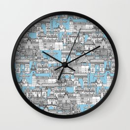 Paris toile cornflower blue Wall Clock