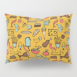 Food Frenzy yellow Pillow Sham