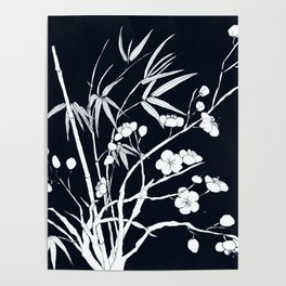 bamboo and plum flower white on black Poster