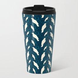 Kereru and magnolia - navy  Metal Travel Mug
