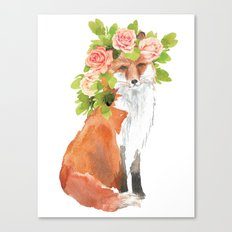 fox with flower crown Canvas Print
