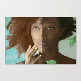 Colorism Split-Face Black Woman Canvas Print