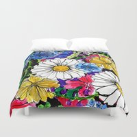 daisies Duvet Covers featuring daisies by Alisa Burke