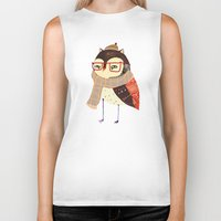 owl Biker Tanks featuring  Owl by Ashley Percival illustration