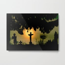 Misty sunrise at the cemetery Metal Print