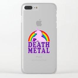 Funny Death Metal Unicorn Rainbow T-Shirt Clear iPhone Case