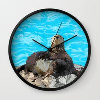 otters Wall Clocks featuring Where the River Meets the Sea Otters by Distortion Art