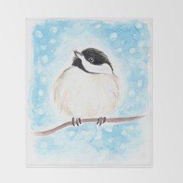 Cute Chickadee Watercolor Throw Blanket
