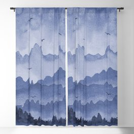 misty mountains - blue palette Blackout Curtain