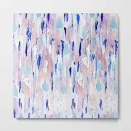 Abstract Painting Blue Pink Copper Metal Print