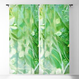 Myst Tree in Green by Laura Zollar Blackout Curtain