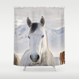Rustic Winter Horse Shower Curtain