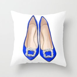 Manolo Blue Shoes Throw Pillow