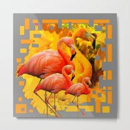 GOLDEN YELLOW SAFFRON FLAMINGOS FANTASY GREY ART ABSTRACT Metal Print