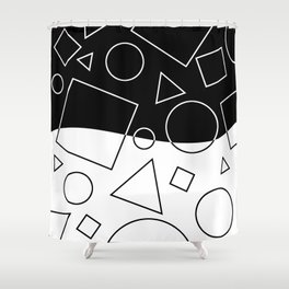 Black and White Geometric Shapes Wave Shower Curtain