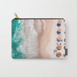 Aerial Beach Print, Emerald Turquoise Ocean Beach Photography, Aerial Photography, Ocean Waves, Beach Art Poster, Home Decor Art Print Carry-All Pouch