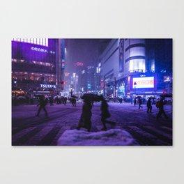 Snowy night at Shibuyacrossing Canvas Print