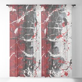 Groove In The Fire - Black and red abstract splash painting by Rasko Sheer Curtain