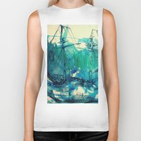 ship Biker Tanks featuring Ship by Hilary Dow