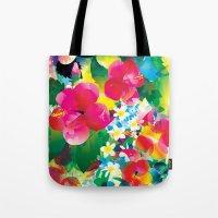 hawaiian Tote Bags featuring Hawaiian jungle by Akwaflorell