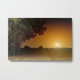 Orange full moon rising landscape Metal Print