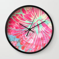 aelwen Wall Clocks featuring Blue Water Hibiscus Snowfall by Vikki Salmela