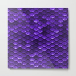 Beautiful grape purple mermaid fish Scales Metal Print
