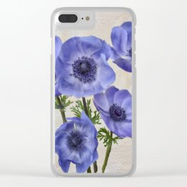 Pretty Periwinkle Poppies Clear iPhone Case