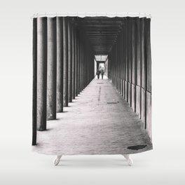 Arcade with columns in Copenhagen, architecture black and white photography Shower Curtain