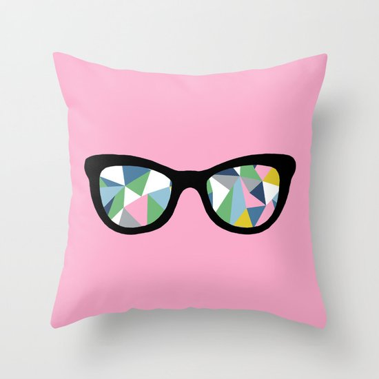 Abstract Eyes on Pink Throw Pillow
