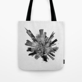 Chicago, Illinois Black and White Skyround / Skyline Watercolor Painting Tote Bag