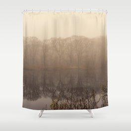 Foggy springtime Reflections Shower Curtain