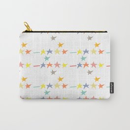 Multicolored doodle little falling stars and dashes on white pattern Carry-All Pouch