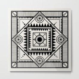 Western tribal square mandala - black on neutral Metal Print