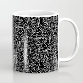 Elios Shirt Faces with Valentine Hearts in White Outlines on Black Coffee Mug