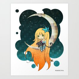buterfly moon Art Print