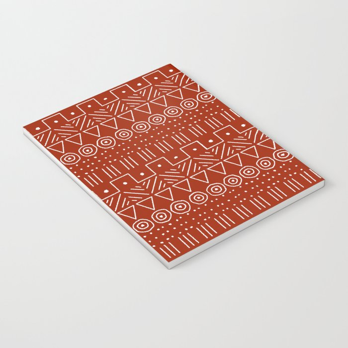 Mudcloth Style 1 in White on Red Notebook
