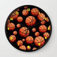 basketball Wall Clocks featuring Basketball by joanfriends