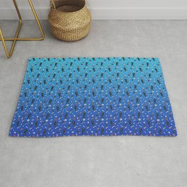 Cute Black Puppies with Toys - Blue Gradient Theme Rug