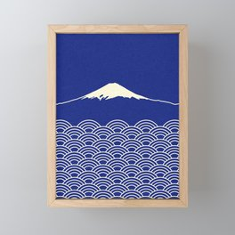 Waves And Fuji Sun Framed Mini Art Print