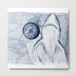 Great White Shark Compass Map Blue Metal Print