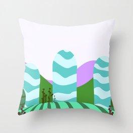 Stripes landscape  Throw Pillow