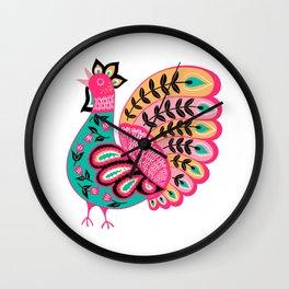Folk Art Rooster Wall Clock