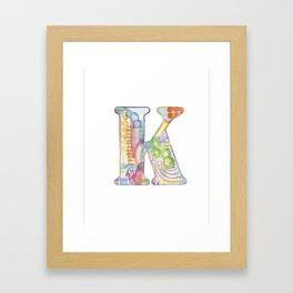 Letter K - Watercolor Monogram - Colorful Lettering - Watercolor Letter Print - Watercolor Initial Framed Art Print